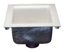 """3"""" Neo-Loc Outlet Sani-Flor Deep Receptor - Acid Resistant Porcelain Enamel Square Top, Cast Iron"""