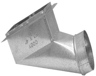 """12 X 6 X 6"""" Register Angle Duct End Boot, Galvanized Steel"""
