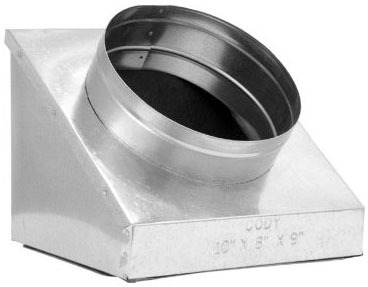 """6 X 10 X 6"""" Register Angle Insulated Duct Boot, Galvanized Steel"""