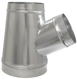 "8 X 7 X 6"" Single Wall Reducing Duct Pipe Wye, Galvanized Steel"