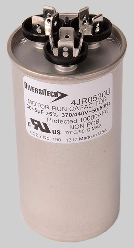 30/5 MFD Dual Voltage Motor Run Capacitor, Metal