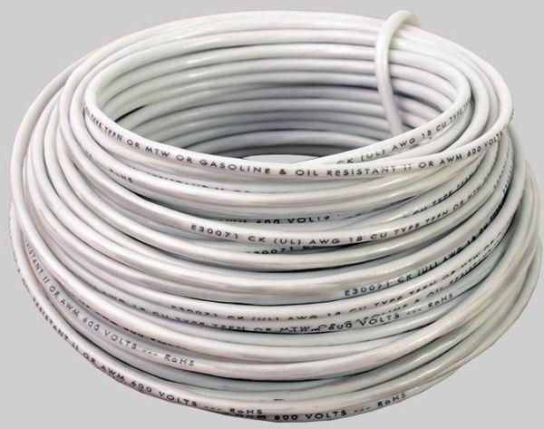 14 AWG 48' Stranded THHN Hook-Up Wire - DEVCO, Nylon Jacket, White PVC Insulation, 600 V