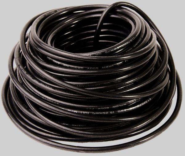 10 AWG 48' Stranded THHN Hook-Up Wire - DEVCO, Nylon Jacket, Black PVC Insulation, 600 V