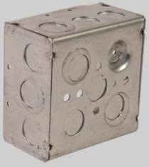 """4"""" x 4"""" x 1-1/2"""" 21 Cu Inch Steel Utility Box - DEVCO, 3/4"""", 1/2"""", Knockout"""