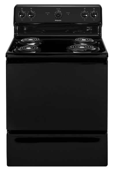 "30"" Freestanding Electric Range with Standard Clean - Hotpoint, 10.1 kW, 4-Burners, Black"
