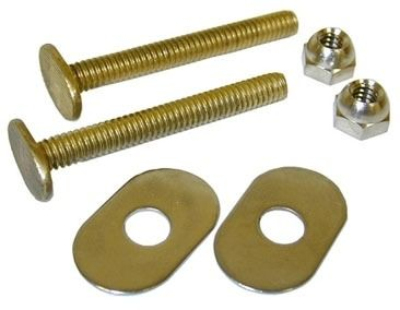 "1/4"" x 2-1/4"" Closet Bolt - with Brass Oval Washer and Nut, Solid Brass"