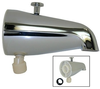 Wall Mount Diverter Tub Spout with Bottom Hose - Chrome Plated