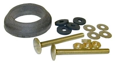 """5/16"""" x 3-1/4"""" Closet Tank Bolt Kit - with Stainless Steel Round Washer, Solid Brass Nut, Gasket"""