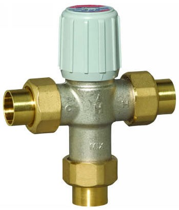 "3/4"" Soldered Union Thermostatic Mixing Valve, Brass"