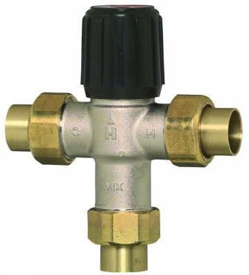 "1"" Soldered Union Thermostatic Mixing Valve, Brass/Bronze"
