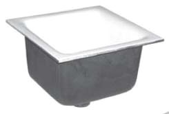 "4"" No Hub Outlet Floor Sink - Square, Porcelain Enamel, Cast Iron"