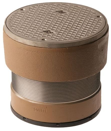"4"" Speedi Set Twist-To-Floor Cleanout - Duco Cast Iron, with Round, Adjustable Nickel Bronze Top"