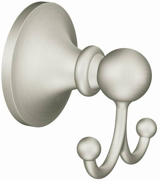 Wall Mount Double Robe Hook - Wembley, Brushed Nickel, Zinc