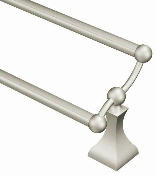 """24"""" Double Round Towel Bar - Retreat, Brushed Nickel"""