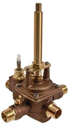 "1/2"" Pressure Balancing Tub and Shower Trim Valve - MPT / Soldered, 5.3 GPM at 50 psi, Solid Brass, 3-Port"