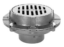 """4"""" Neo-Loc Floor Drain - Bottom Outlet, Round Top, Cast Iron"""