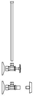 "1/2"" x 3/8"" OD Closet Supply Kit - Polished Chrome, Standard Angle Stop with Loose Key, 12"" Riser"