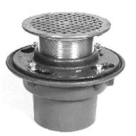 "3"" No Hub Outlet Floor Drain - Bottom Outlet, Round Top, Cast Iron"