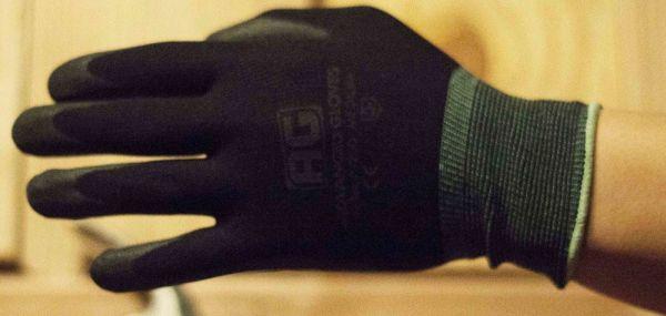 Large Black Gloves - NiTex, Nylon / Nitrile Foam Coated