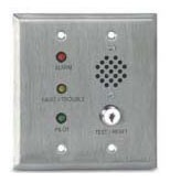 24 VDC Duct Smoke Detector Remote Alarm - Trouble, Pilot, Horn, Key Operated Test / Reset Switch