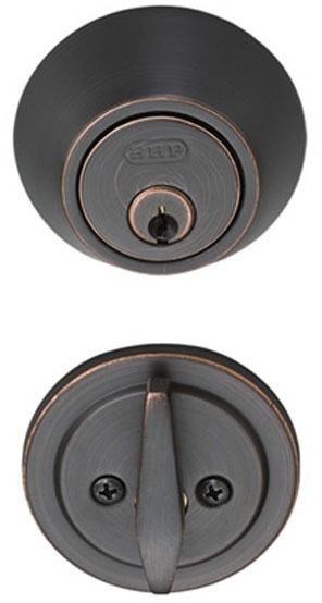 5-Pin Single Cylinder Door Deadbolt - Non-Handed, Dark Bronze, Metal