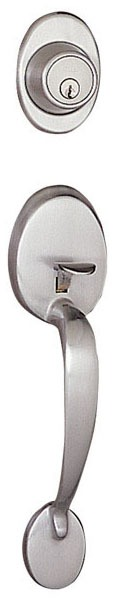 Satin Nickel Door Handle Set - VAN NESS, Adjustable Handing