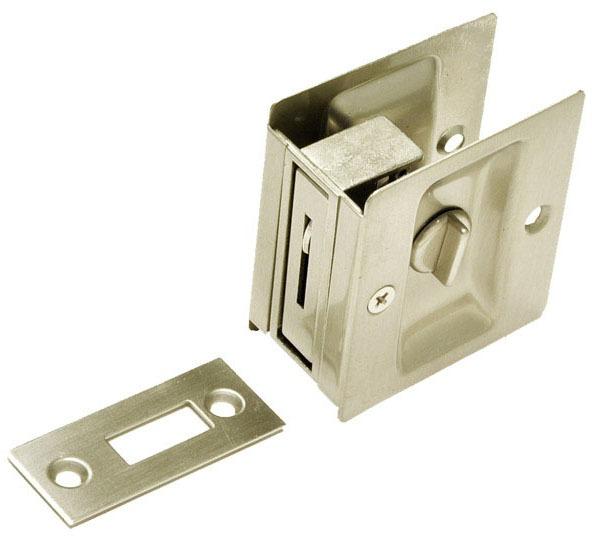 Sliding Privacy Pocket Door Lock, Satin Nickel