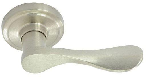 Satin Nickel Metal Reversible Door Lever - NEW WATERFRONT IV, Tubular Hall and Closet / Passage Set