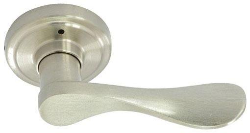 Satin Nickel Metal Reversible Door Lever - NEW WATERFRONT IV, Tubular Bed / Bath Privacy Set
