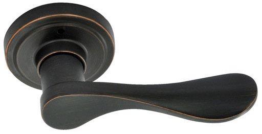 Dark Bronze Reversible Door Lever - NEW WATERFRONT, Bed / Bath Privacy Lock