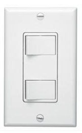Decorator Wall Control Switch - White, 120 VAC, 20 A, 2-Rocker Switch
