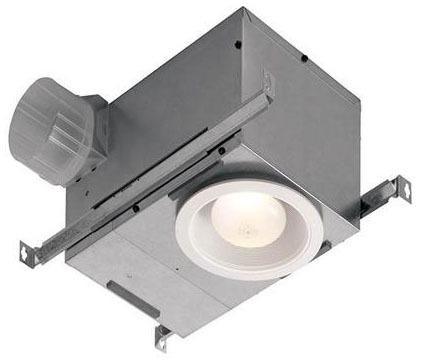70 CFM Ceiling Bath Ventilation Fan / Light - Matte White Polymeric Grill, LED, 1.5 Sones