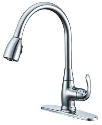 1 Deck Mount Kitchen Faucet, Brushed Nickel