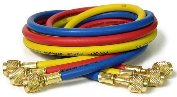 "1/4"" Blue Nylon Barrier Charging Hose with Anti-Blow Valve - Pro-Set, Premium"