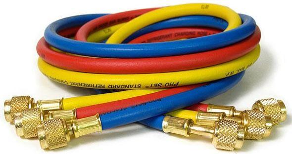 "1/4"" Yellow / Blue / Red Nylon Barrier Charging Hose - Pro-Set, Standard"