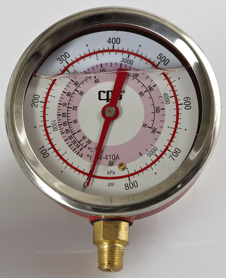 "0 to 800 psi Manifold Gauge - VORTECH, MPT, 3-1/8"" Face"