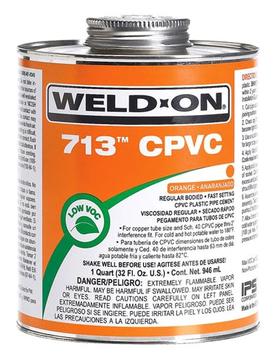 CPVC Solvent Cement - Weld-On / 713, Regular Orange, 1 Pint Can