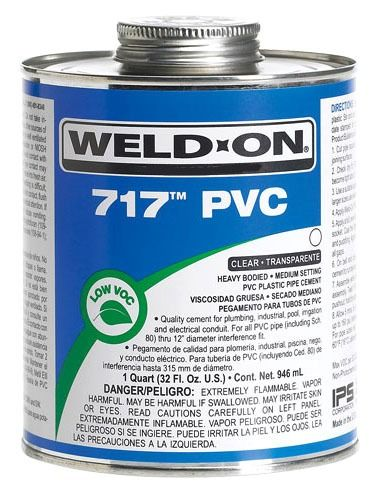 PVC Solvent Cement - Weld-On / 717, Heavy Gray, 1 Quart Can