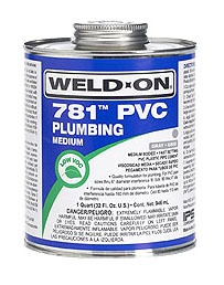 PVC Solvent Cement - Weld-On / 781, Medium Clear, 1 Quart Can