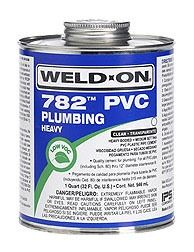 PVC Solvent Cement - Weld-On / 782, Heavy Clear, 1 Quart Can