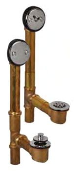Trip Lever Waste and Overflow - AB&A, Chrome Plated Brass, 2-Hole Slip Joint