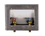 Center Drain Washing Machine Outlet Box - Guy Gray, with 1/4 Turn Valve Arrester Valve, Stainless Steel