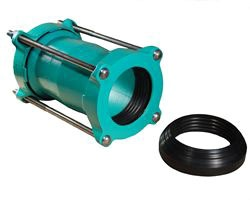 "6"" Ductile Iron Long Length Optimum Range Repair Coupling - 6.28"" to 7.6"" OD, 10"" Width Sleeve, with Epoxy Coated / Alloy Bolt"