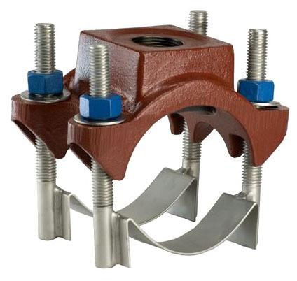 13.10-14.38 X 1-1/2CC Ductile Iron Single Outlet Double Strap Heavy Duty Service Saddle