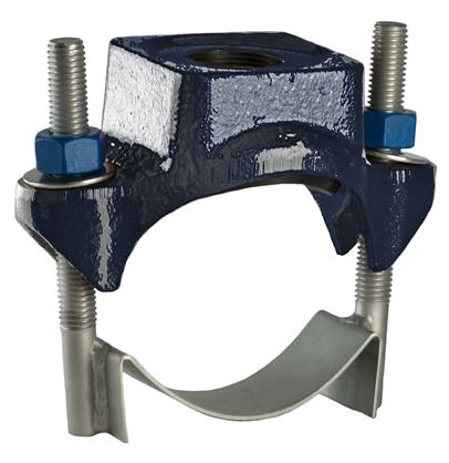 """6"""" Ductile Iron Single Strap Wide Service Saddle - 2"""" IP Tap, 6.84"""" to 7.6"""" Pipe OD"""