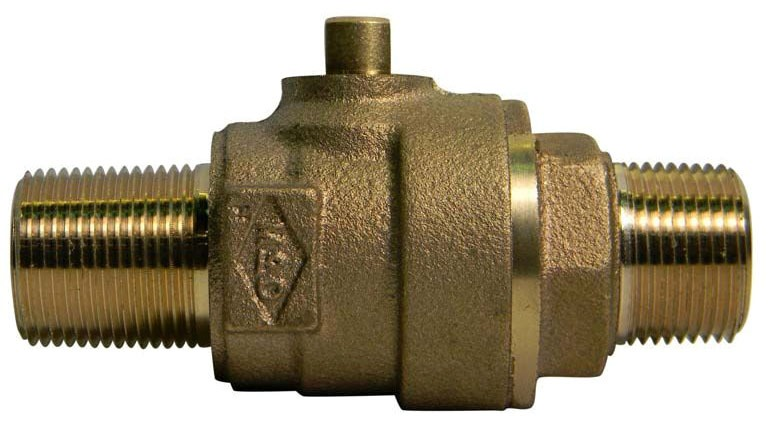 "3/4"" Brass Ball Style Corporation Stop Valve - MPT, 300 psi"