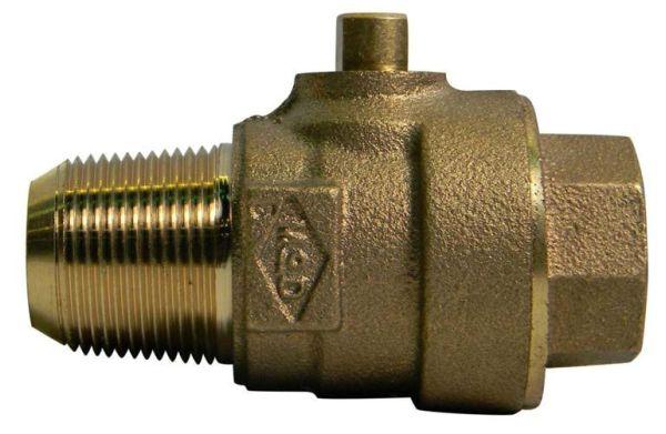 "2"" Brass Ball Style Corporation Stop Valve - AWWA / CC MPT x FPT, 300 psi"