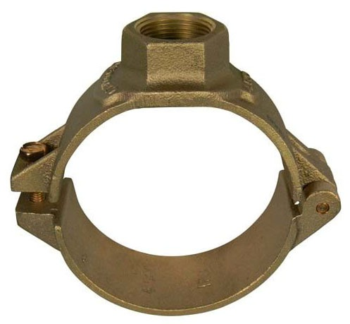 "4"" x 3/4"" Cast Brass 2-Bolt Single Outlet Saddle - FPT Tap"
