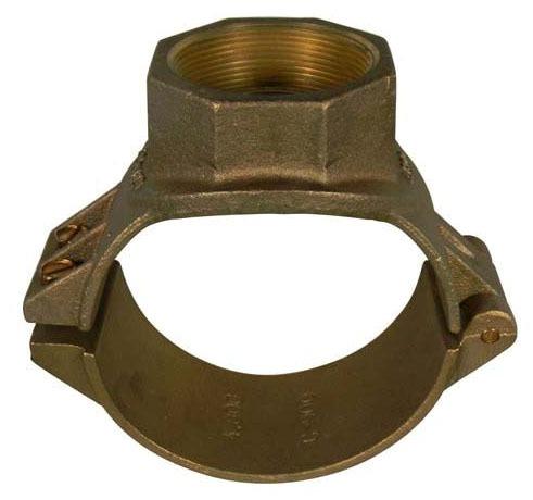"""6"""" x 2"""" Cast Brass 2-Bolt Single Outlet Saddle - AWWA Tap"""