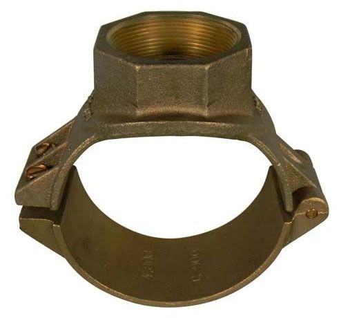 "8"" x 1"" Cast Brass 2-Bolt Single Outlet Saddle - AWWA Tap"